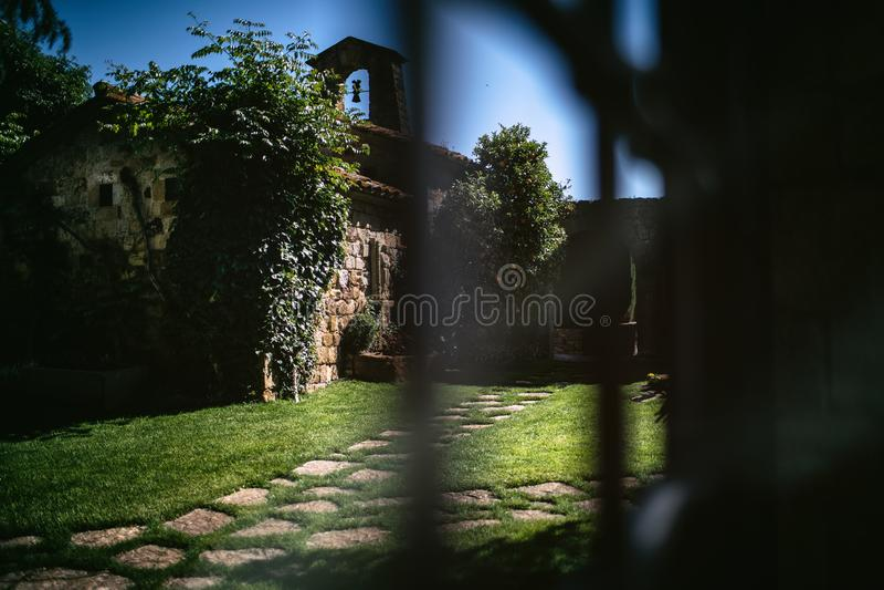 European green courtyard in the village. European old green courtyard in the village royalty free stock photo