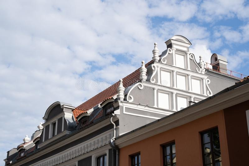 European historical building exterior in Kaunas, Lithuania royalty free stock photo