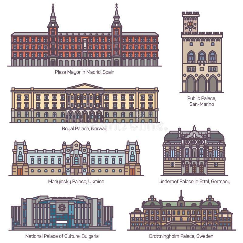 European historical royal palace buildings in line. European historical palace buildings. Plaza Mayor in Madrid, Spain. Public, Royal, Mariyinsky, Linderhof royalty free illustration