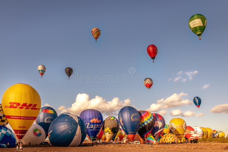 European hot air balloon championships - competition, Manacor, Mallorca, Spain, 24th October 2019. European hot air balloon championships - competition, blue sky royalty free stock image