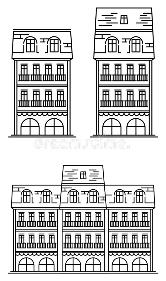 European_house illustration stock