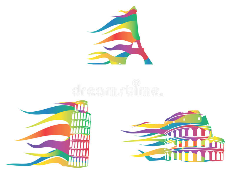 Download European Important Places Icons Moving In The Wind Stock Vector - Illustration: 27459618
