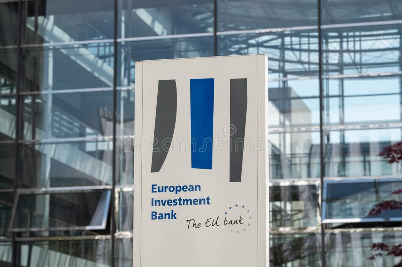 European Investment Bank Sign and Logo - Landscape. Luxembourg City / Luxembourg - 05 01 2019: European Investment Bank - EIB - sign and logo. The EIB is a stock image