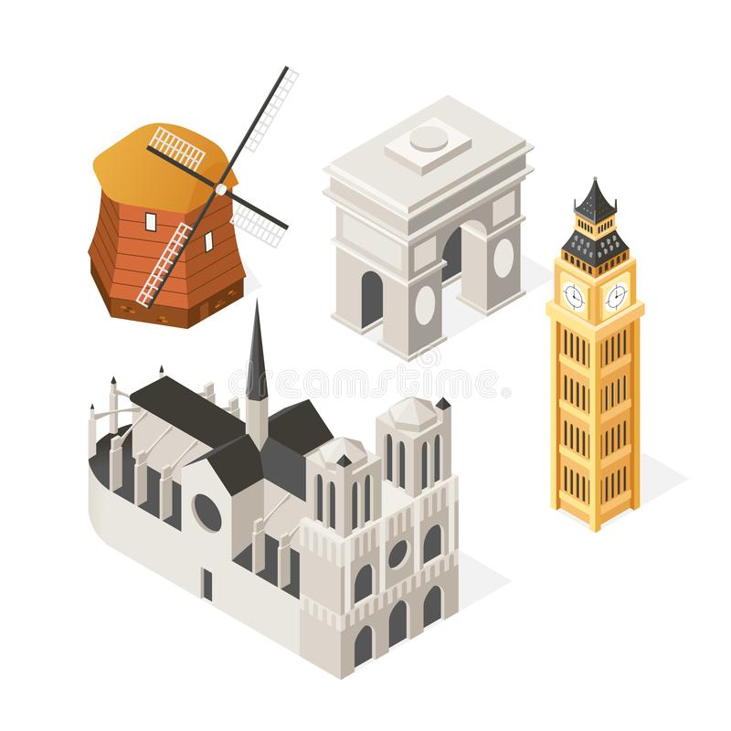 European landmarks - colorful isometric set of objects royalty free illustration