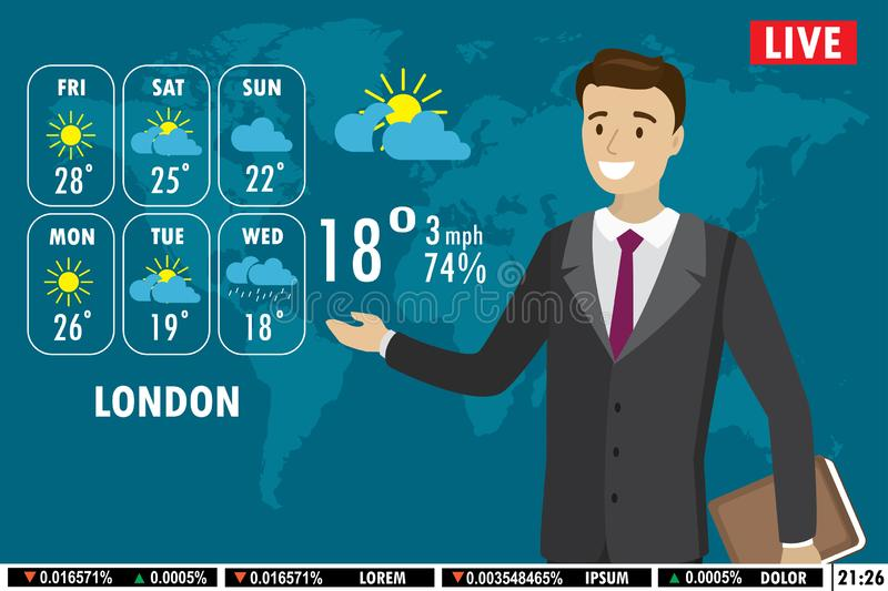 European male news anchor tells weather forecast on tv royalty free illustration
