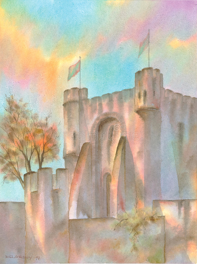 European Medieval Castle. Digitally scanned image of an ORIGINAL WATERCOLOR (on 100% cotton & hand made paper), of a EUROPEAN MEDIEVAL CASTLE, a masterpiece of royalty free illustration
