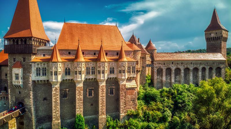 EUROPEAN MEDIEVAL STRONG FORTRESS DEFENSE. EUROPEAN MEDIEVAL STRONG CASTLE FROM HUNEDOARA, TRANSYLVANIA, ROMANIA, DEFENDED BY HIGH STONE WALLS royalty free stock images