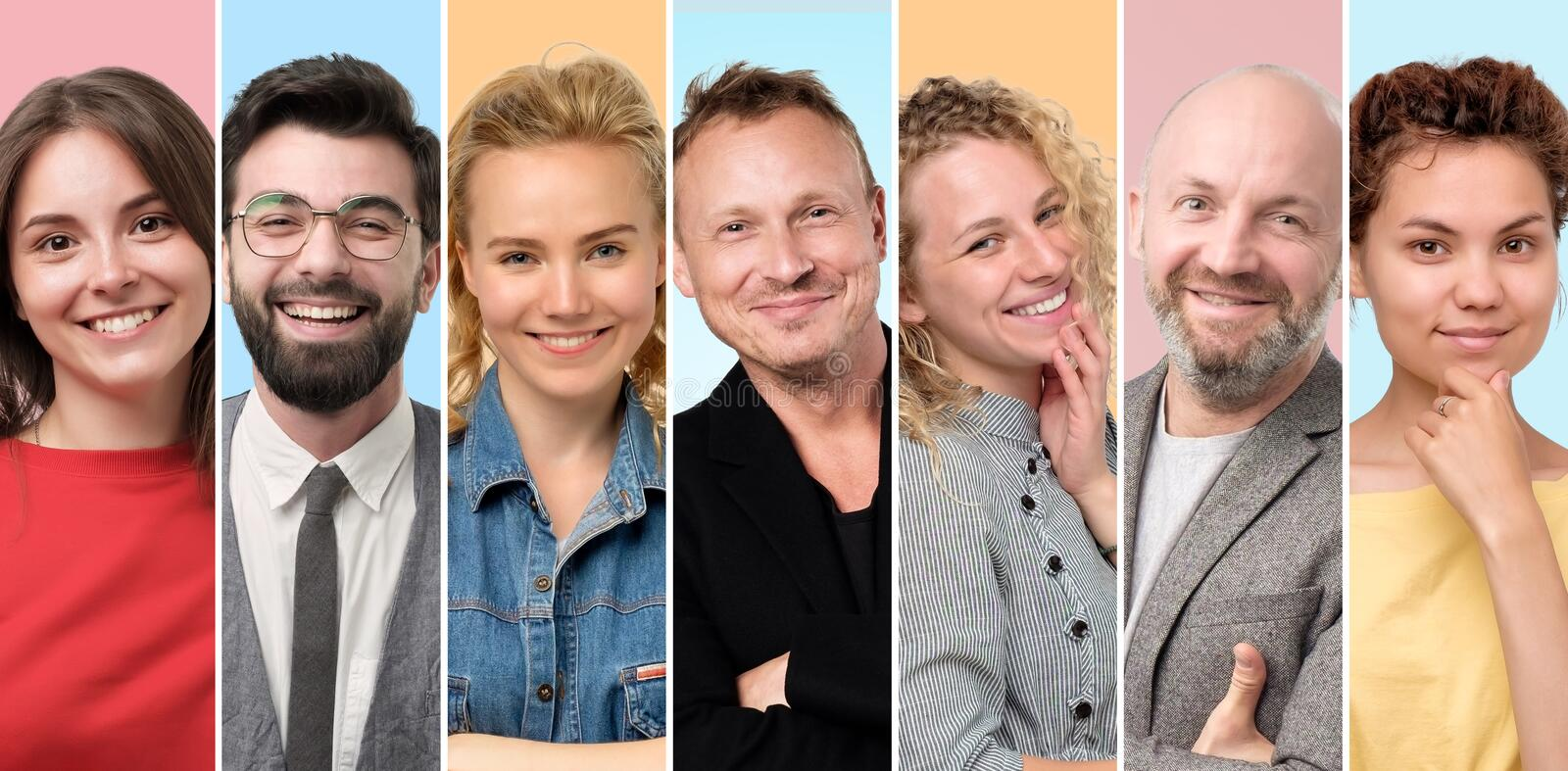 European men and women smiling at camera being self confident. royalty free stock photo