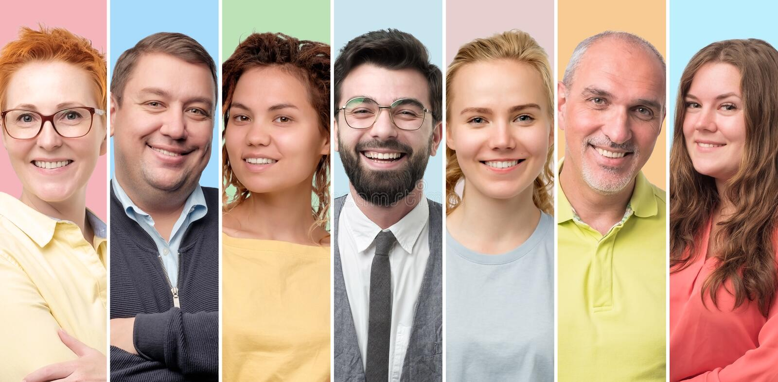 European men and women smiling at camera being self confident. royalty free stock photography