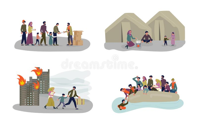European Migrant Crisis Concept set. Refugee Family with Children. Sailing to Europe on the Boat. Crossing the border and Life in the Refugee Camp. Flat Art stock illustration
