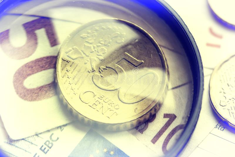 European money image. European money. Coin fifty cents and a note of 50 euros royalty free stock photography