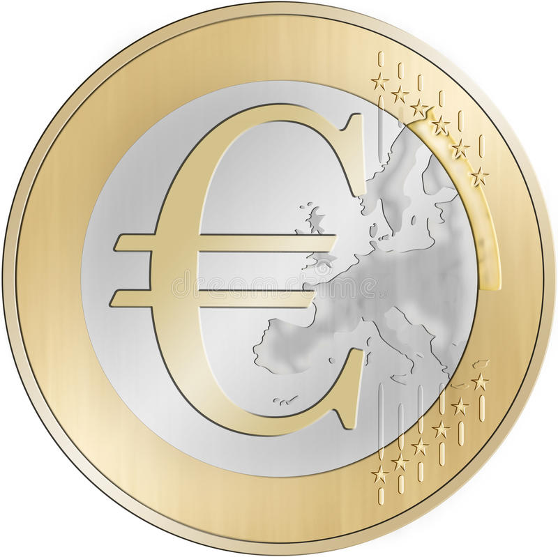European Money. One Euro Coin with a Cash Sign inside vector illustration