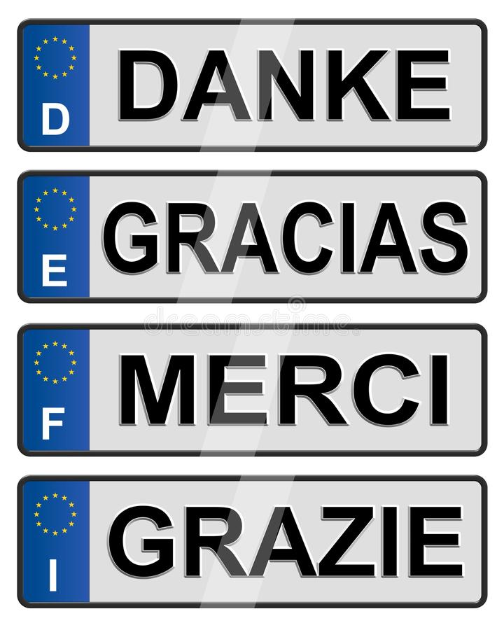 European number plates. Four European union number plates spelling thank you stock illustration