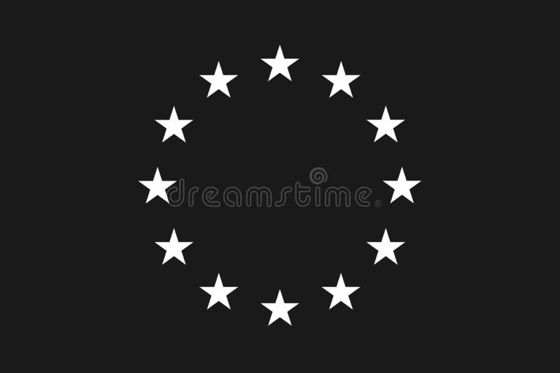 European official union flag , EU flag , with black and white color isolated on background vector illustration