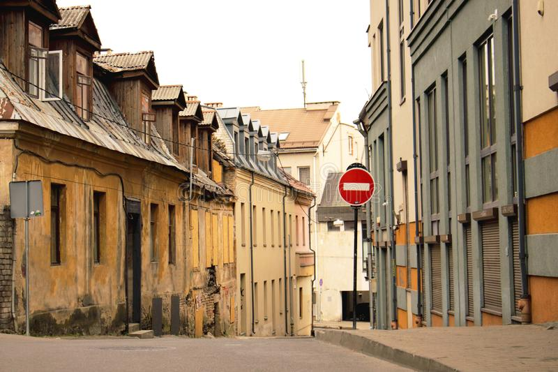 European old town street view with no entry sign stock photography