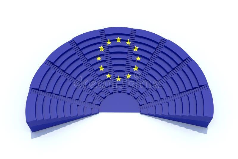 European parliament. 3d concept european parliament with europ flag color stock illustration