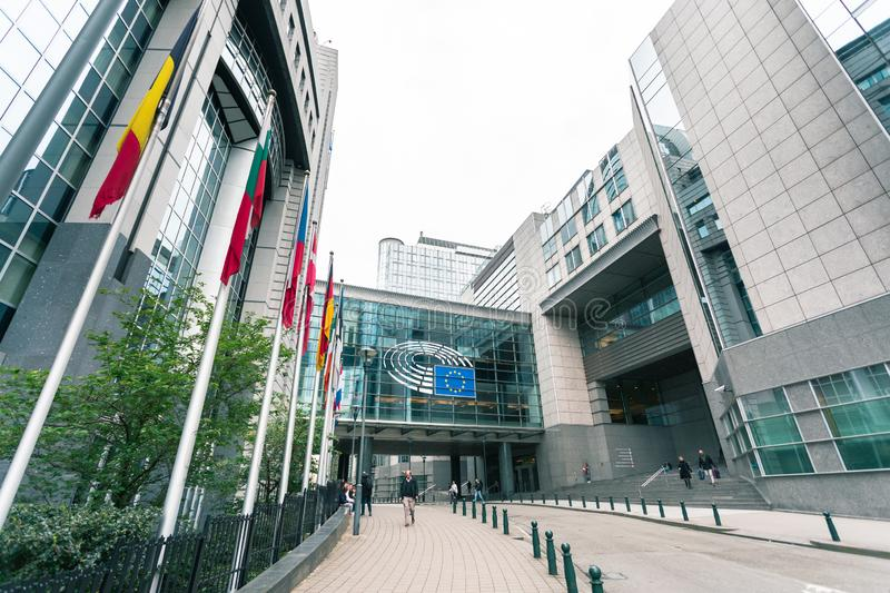 European Parliament Building in Brussels, Belgium stock photography