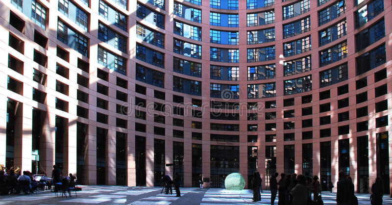 European Parliament courtyard in Strasbourg. royalty free stock image