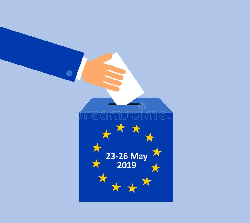 European parliament election in May 2019 vector illustration