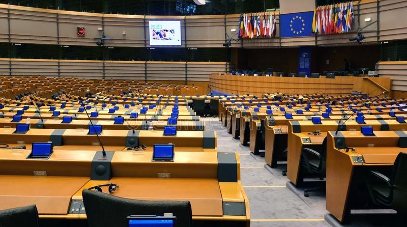 European Parliament hemicycle in Bruxelles. Empty debating chamber. Bruxelles/Belgium - November 19, 2018: The European Parliament hemicycle. Empty debating stock photography