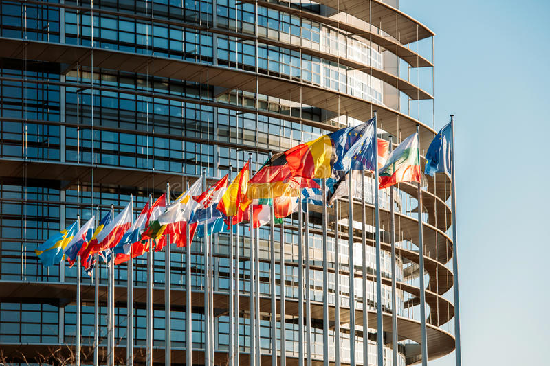 European Parliament frontal flags Strasbourg Brussels royalty free stock image