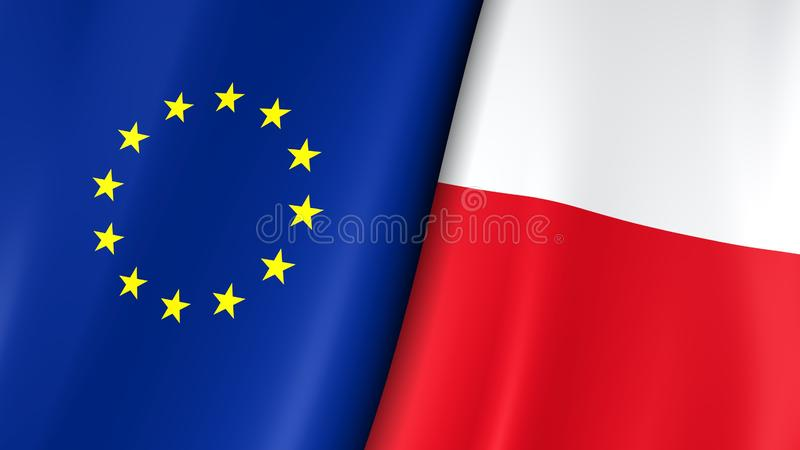 European flag and flag of Poland. Yellow stars on a blue. White and red. Council of Europe. 3d illustration vector illustration