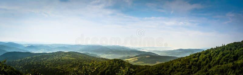 European Polish wooded mountains while climbing on Yavazhina Krynicka stock images