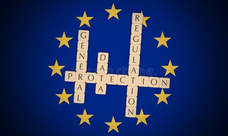 European Politics: Letter Tiles General Data Protection Regulation On EU Flag, 3d illustration. European Politics News Concept: Letter Tiles General Data vector illustration