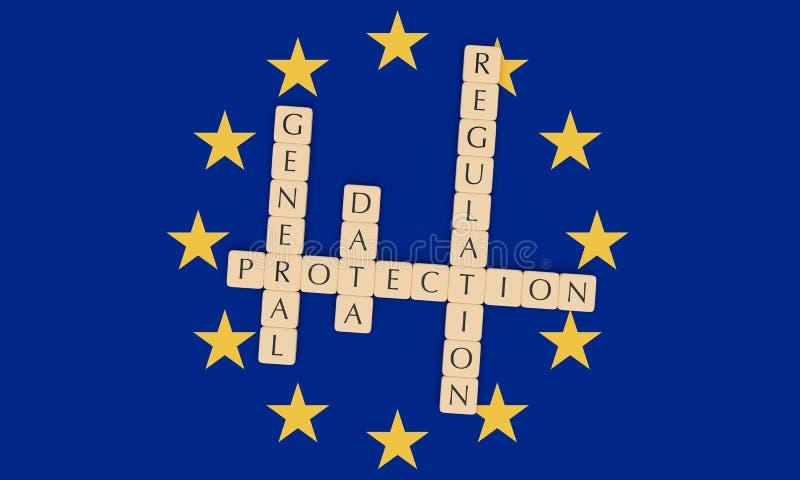 European Politics: Letter Tiles General Data Protection Regulation On EU Flag, 3d illustration. European Politics News Concept: Letter Tiles General Data royalty free illustration
