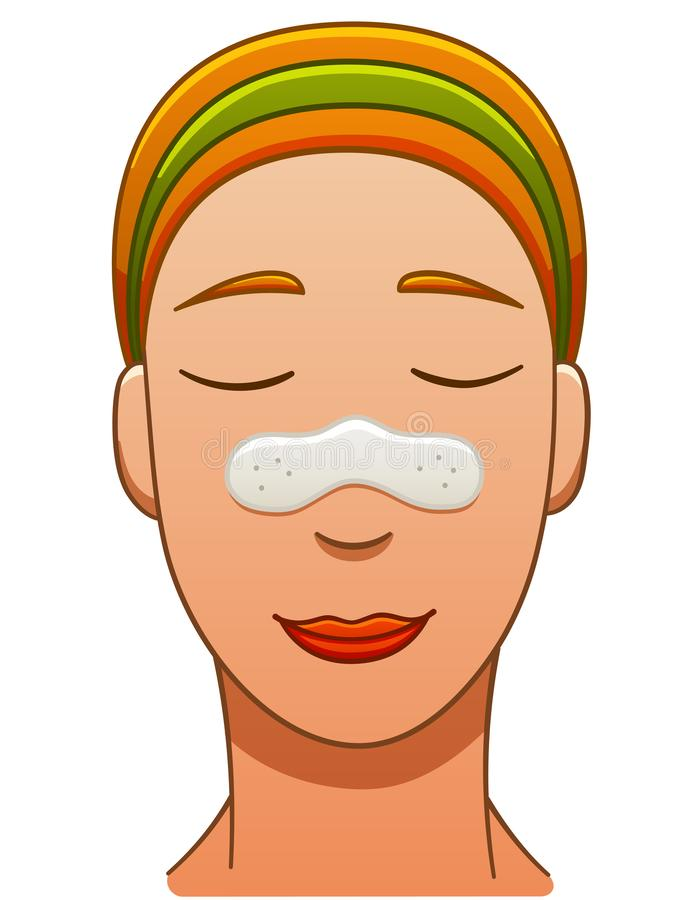 European red-haired woman with nose pore strip. European red-haired smiling woman with nose pore strip. White backgroun royalty free illustration