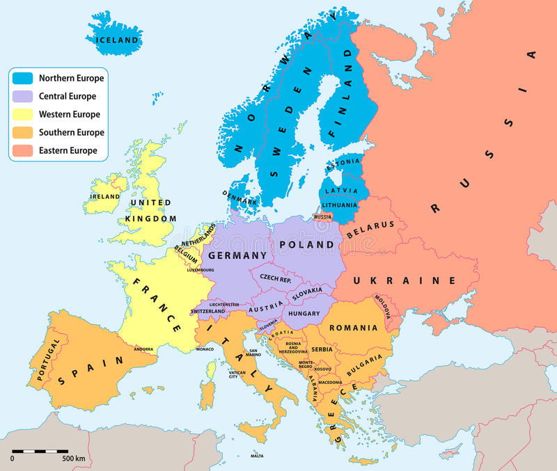 European regions map. Main european regions map. All data are in layers for easy editing vector map. Europe map background for your infographics stock illustration
