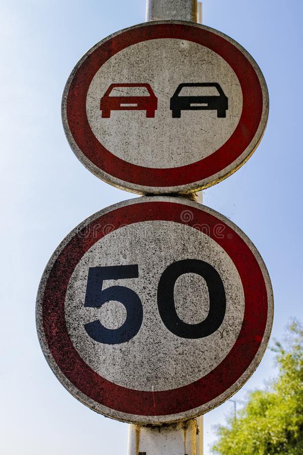 European Road SIgn Speed Limit 50 stock images