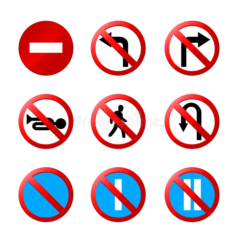 European road signs with details vector illustration
