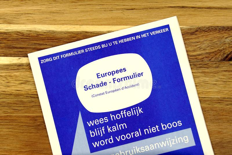 European road vehicle accident report form Dutch stock photography
