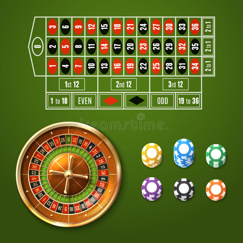 European Roulette Set. Casino gambling set with european roulette wheel and chips stacks isolated vector illustration vector illustration