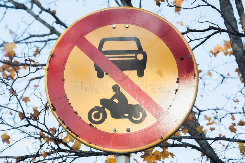 European round traffic sign, the passage of vehicles and motorcycles prohibited.  stock photos