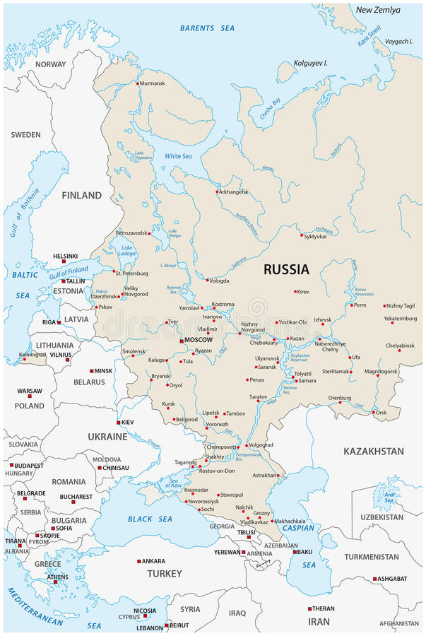 European russia map. Map of the European part of the Russian federation vector illustration