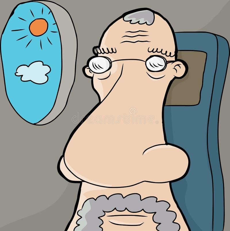 Download Senior Man on Plane stock vector. Image of nose, balding - 29836580
