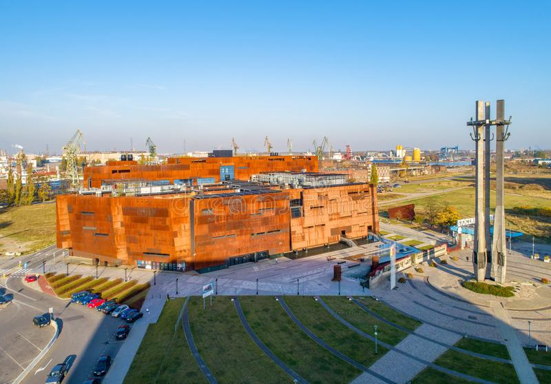 European Solidarity Center in Gdansk, Poland. Gdańsk, Poland - October 16, 2018: Rusty steel building of European Solidarity Center and museum in Gdansk and stock photos