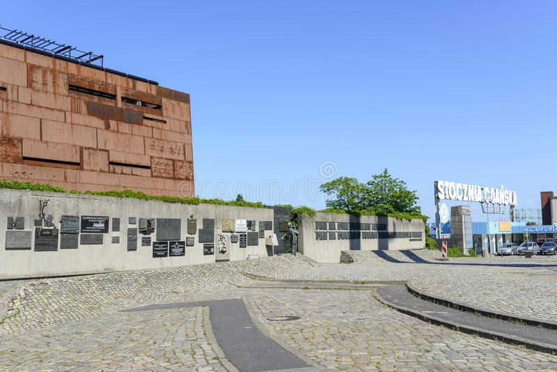 Monument of Solidarity. European Solidarity Centre and entrance gate to Gdansk Shipyard on 30 May 2018 in Gdansk, Poland. Monument commemorating the fallen royalty free stock photo