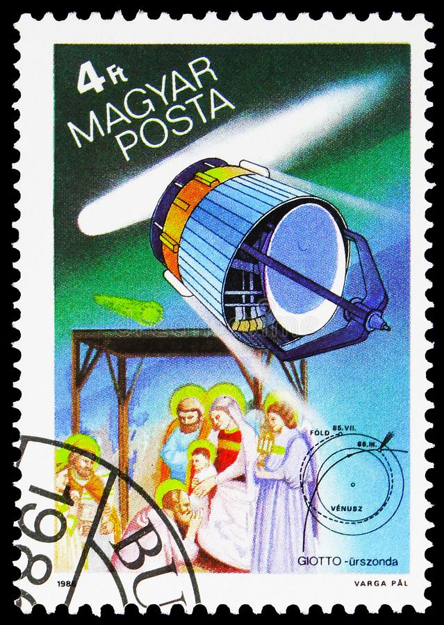 European Space Agency Giotto and the Three Magi, Halley`s Comet serie, circa 1986 stock photography