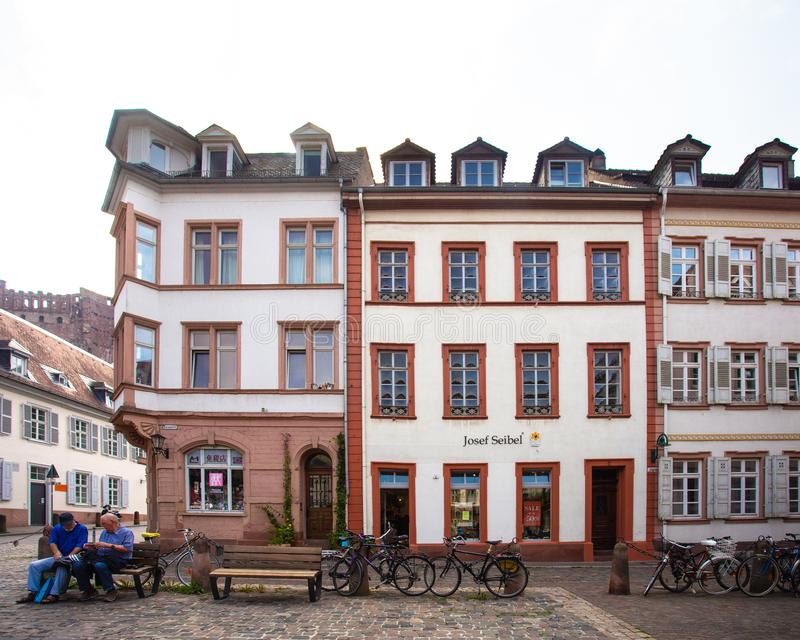 European street scene from Heidelberg, Germany royalty free stock photos