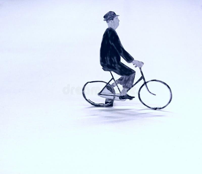 Gentleman Riding Bicycle royalty free stock photo