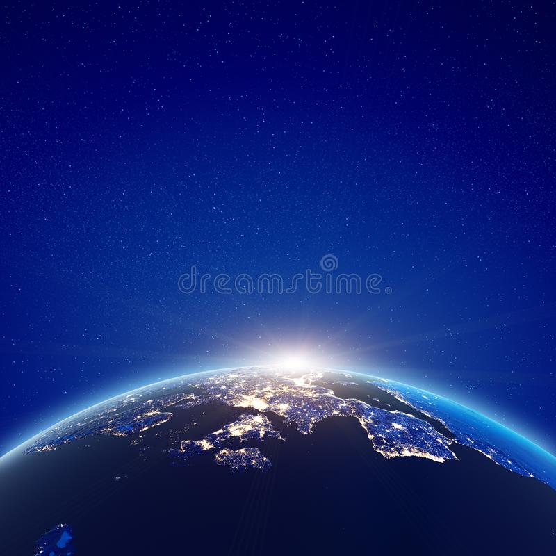 European sunrise city lights. Elements of this image furnished by NASA. 3d rendering royalty free illustration