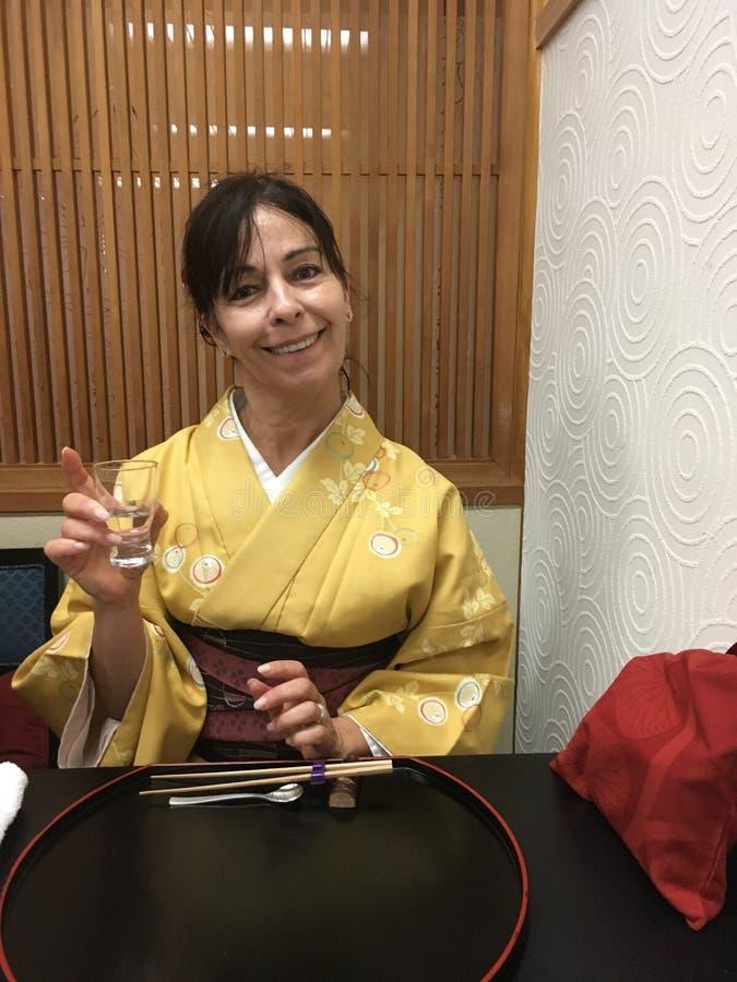 European tourist in kimono royalty free stock image