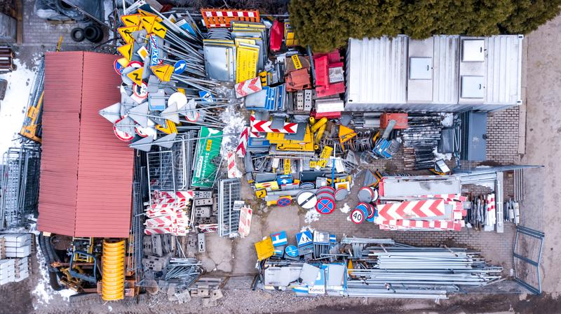 European traffic signs collection. Signs of danger. Mandatory signs.Signs of obligations. Signs of alerts. Supplementary tables. Tables of routing. Aerial stock image