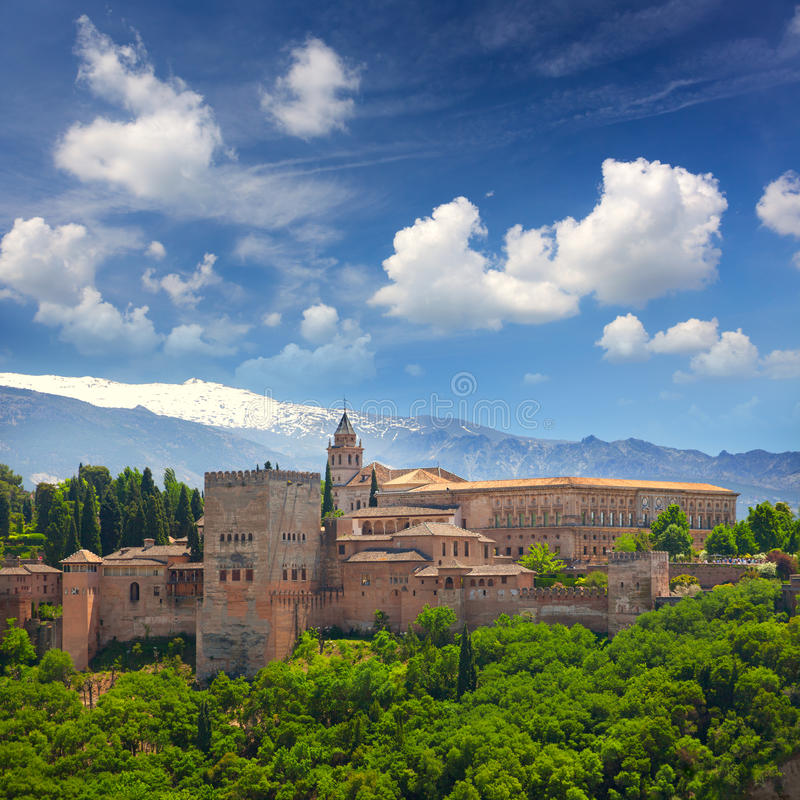 European travel landmark - arabic fortress Alhambra, Granada, Sp. View of the Ancient arabic fortress Alhambra, Granada, Spain, European travel landmark stock images