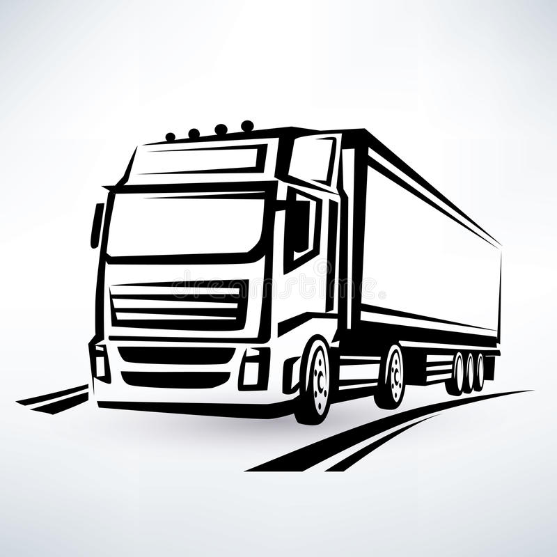European truck. Outlined vector symbol stock illustration