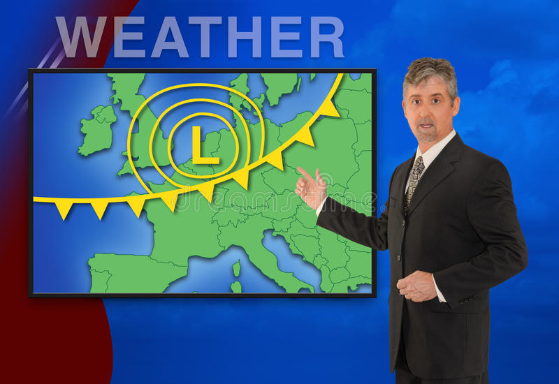 European TV news weather meteorologist reporting. A tv television news weather meteorologist anchorman is reporting with a colorful European map and weather stock photography