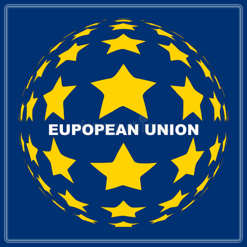 European Union. Emblem with spherical stars and white inscription over blue background stock illustration